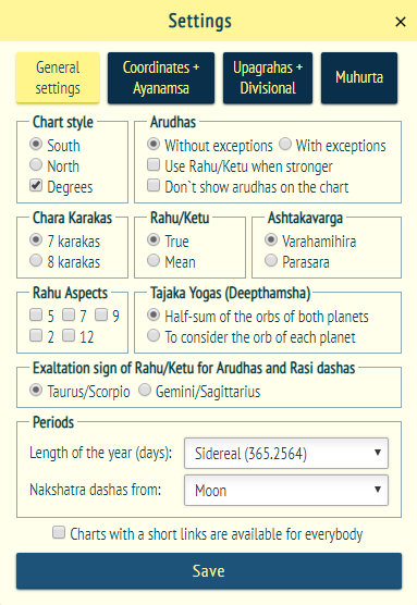 Manual for work in the system «Vedic horoscope online»
